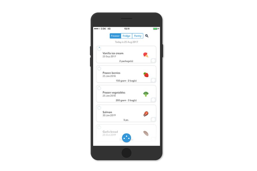 smartphone app displaying an inventory of food