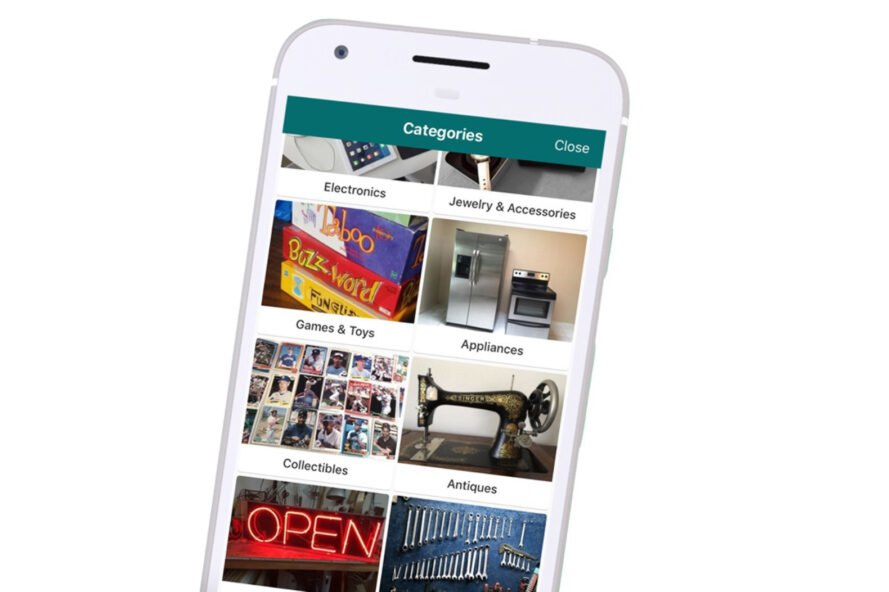 smartphone with app used to sell unwanted items