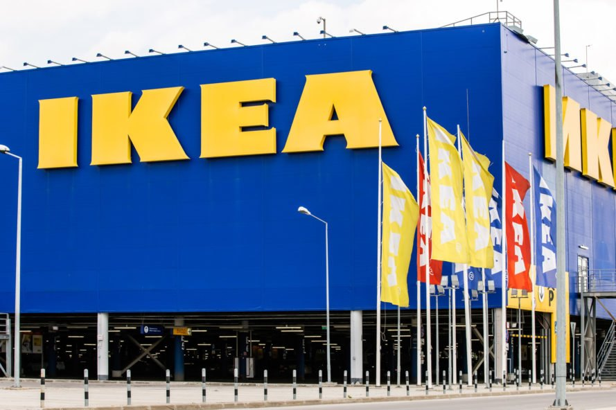 blue building with yellow IKEA sign